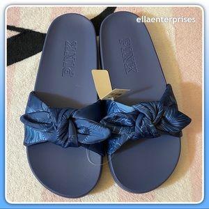 VS Pink Slides Blue Tropical Floral Bow Sandals